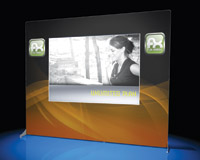Exhibitors can add even more impact to pop up trade show displays with backlit mural graphic panels.